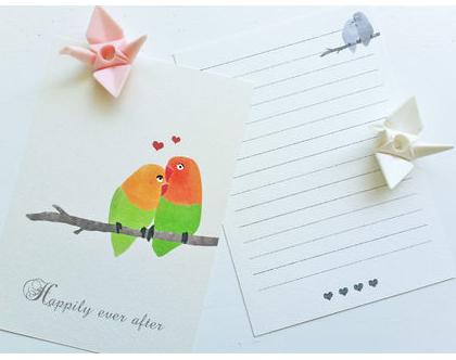 גלויה ציפורים   גלויה למסגור   כרטיס ברכה
