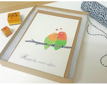 מארז 5 גלויות קרם- Lovebirds
