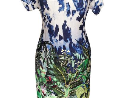 שמלת קיץ מודפסת בהדפס ג'ונגל