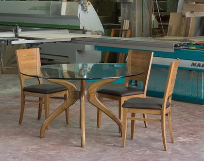 איריס - שולחן עגול עץ וזכוכית