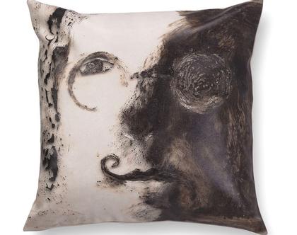 כרית מודפסת - כרית נוי מעוצבת לסלון - כרית דמוי עור - כרית עם רישום אמנותי ג׳ון לנון - כרית אמנותית - כרית שחור לבן