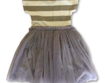 שמלת טול פסים אפורה