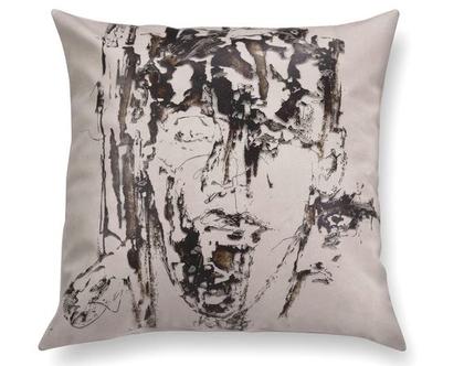 כרית מיוחדת - כרית נוי מעוצבת לסלון - כרית דמוי עור - כרית שחור לבן - כרית עם רישום אמנותי - כרית מודפסת - כרית אמנותית