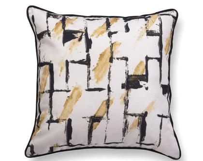 כרית גיאומטרית מקטיפה- כרית נוי מעוצבת לסלון - כרית קטיפה - כרית שחור לבן - כרית עם רישום אמנותי - כרית מודפסת - כרית אמנותית