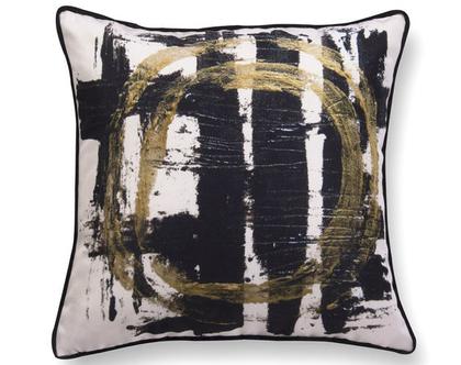 כרית נוי מעוצבת לסלון - כרית קטיפה - כרית קטיפה גיאומטרית - כרית שחור לבן - כרית עם רישום אמנותי - כרית מודפסת - כרית אמנותית
