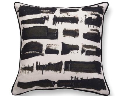 כרית קטיפה שחור לבן גיאומטרית כרית נוי מעוצבת לסלון - כרית קטיפה - כרית קטיפה גיאומטרית - כרית עם רישום אמנותי - כרית מודפסת - כרית אמנותית