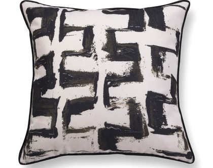 כרית עם רישום אמנותי - כרית קטיפה - כרית נוי מעוצבת לסלון - כרית קטיפה גיאומטרית - כרית שחור לבן - כרית מודפסת - כרית אמנותית