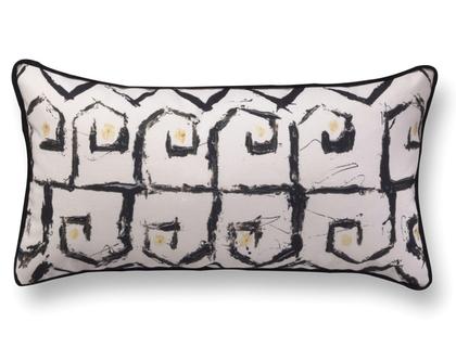 כרית קטיפה גיאומטרית - כרית מלבנית מוארכת - כרית שחור לבן - כרית נוי מעוצבת לסלון - כרית ארוכה - כרית מודפסת - כרית אמנותית
