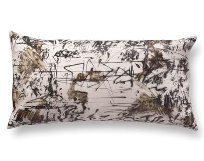 כרית עור מלבנית - כרית מוארכת - כרית אמנותית - כרית עור לסלון - כרית ארוכה שחור לבן- כרית מודפסת