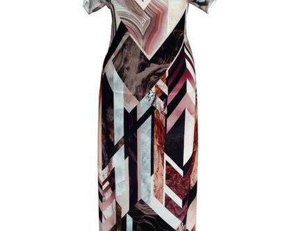 שמלת מקסי בהדפס גיאומטרי