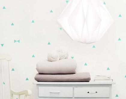 מדבקות משולשים לקיר, מדבקות קיר, מדבקות לעיצוב החדר, מדבקות מעוצבות, מדבקות משולש, עיצוב חדרי ילדים