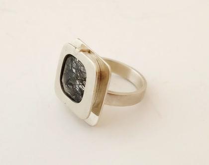 טבעת כסף עם אבן רוטיל קוורץ שחור, טבעת עם אבן מיוחדת, תכשיטים בעבודת יד, טורמלין שחור, אבני ריפוי