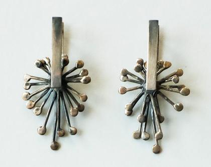 עגילי כסף מושחר, עגילים גדולים, תכשיטים בעבודת יד, תכשיטים קינטיים