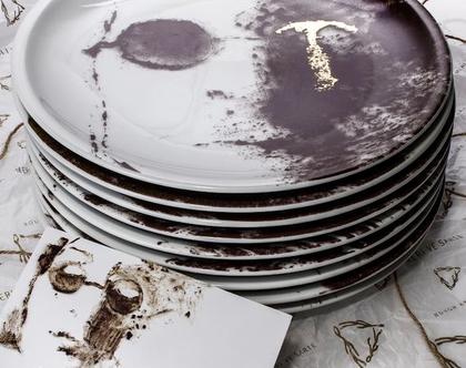 סט צלחות אוכל יוקרתיות 24k מפורצלן וזהב - סט כלים חגיגי - כלי אירוח לחג - צלחת אמנותית מאויירת - מתנה מיוחדת לבית
