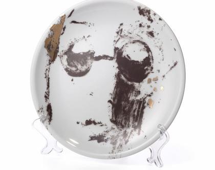 צלחת אוכל מפורצלן וזהב 24k - צלחת לתליה על הקיר - צלחת אמנותית מאויירת- סט כלים יוקרתי - צלחת מעוצבת אמנות שימושית - ג׳ון לנון - כלי אירוח