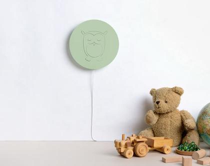 מנורת לילה לחדר ילדים, אקססוריז לילדים, עיצוב חדר ילדים, מתנה ליולדת, עיצוב חדרי תינוקות, ירוק | HILAYLA ינשוף ירוק