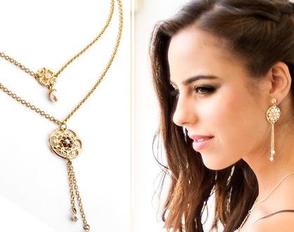 סט עגילים ושרשרת זהב, שרשרת בסגנון רומנטי, עגילים ארוכים, סט תכשיטים לאירוע