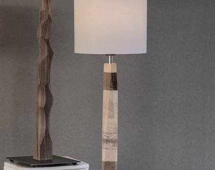 """מנורת שולחן, מנורה לצידי מיטה, מנורה עומדת, מנורת לילה, גוף תאורה שולחני, אהיל פורניר, מנורה בעבודת יד מעץ, """"גאו"""""""