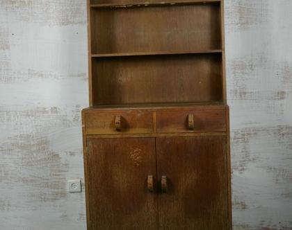 ארונית וינטג' מעץ מלא | ארונית מדפים למטבח | ארון מזווה וינטג' | ארון צלחות | וינטג'מאניה