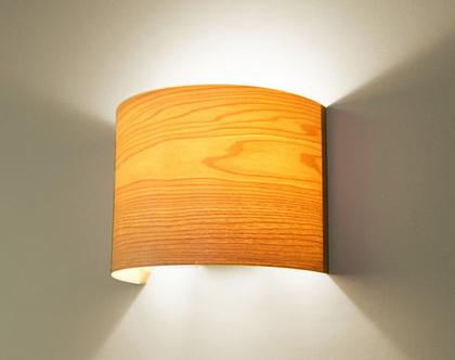 """מנורת קיר, מנורת לילה, מנורה לצידי מיטה, מנורת קריאה, מנורת פורניר, """"ארכ""""- מייפל"""