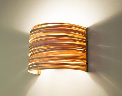 """מנורת קיר """"ארק פסים"""", מייפל, מנורת לילה, מנורה לצידי מיטה, מנורת קריאה, מנורת פורניר"""