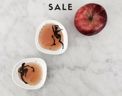 צלוחיות אישיות לתפוח בדבש - שישיית צלוחיות לרטבים - צלוחיות הגשה מפורצלן - צלוחיות לטאפסים - צלחת לתפוח בדבש - צלוחיות לתפוח בדבש