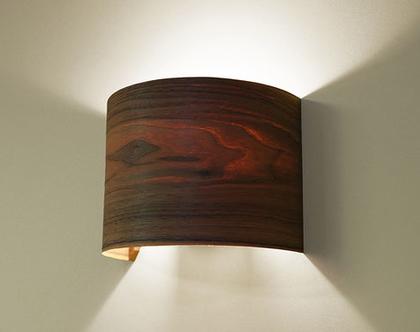 """מנורת קיר, מנורת לילה, מנורה לצידי מיטה, מנורת פורניר,מנורת קשת, """"ארכ""""- אגוז"""