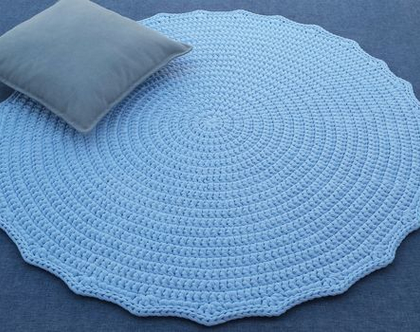 שטיח טריקו | שטיח סרוג | שטיח עבודת יד | שטיח עגול | שטיח תכלת | שטיחים סרוגים