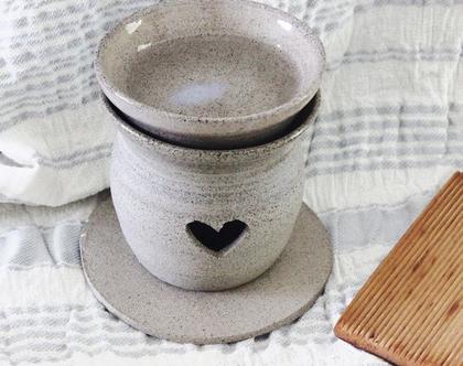 מבער אפור מקרמיקה | מבער שמנים | מבער לריח טוב | מתנה מקורית | אווירה לבית | עיצוב הבית | בישום לבית