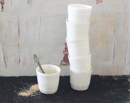 סט של 6 כוסות תה | ספל אספרסו לבן | ספל קפה | כוס קפה | ספל תה | סט כוסות | סט ספלים