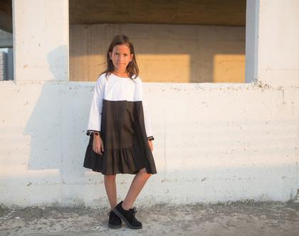 שמלה חגיגית לילדות לאירועים , שמלת דנס כותנה שחור לבן