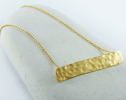 שרשרת פס מעוצבת שרשרת מלבן רקוע שרשרת GOLD BAR שרשרת בר גולדפילד