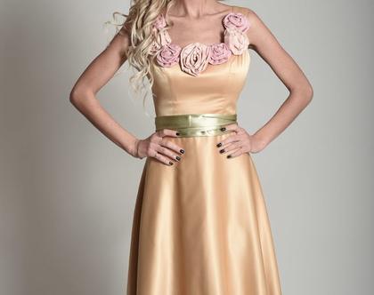 שמלת ערב זהב פרחים