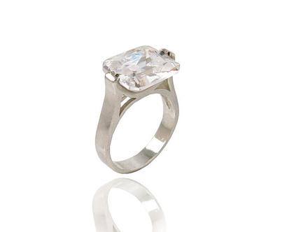 טבעת כסף זרקון אבן מלבנית | טבעת כסף לאשה | כסף טהור 925 | ראדיאנט | טבעת כסף | משובצת | זירקונים | מבצע | תכשיטים לאשה |
