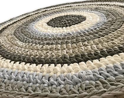 שטיח סרוג לחדר הילדים, שטיח באפורים ותכלת, שטיח לחדר של בן, שטיח בצבעים משתלבים והרמוניים