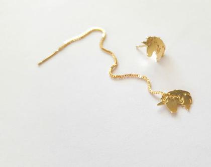 עגילי חד קרן, עגילי יוניקורן, עגיל שרשרת, עגיל יוניקורן עם קשת, עגילים אפנתיים, עגילי זהב, עגילים לילדות, עגילים לאישה, עגילים תלויים