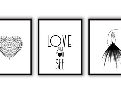 סט 3 תמונות - אהבה בשחור לבן