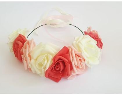 זר לראש | משי | זר פרחים | עיטור ראש | כתר | חגיגה | יום הולדת | קישוט | ורדים | שמנת | אפרסק| כתום אדמדם | זר לבוק | פרום | מלאכותי