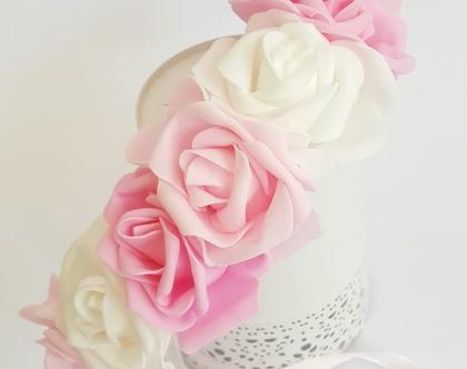 זר לראש   כתר פרחי משי   זר פרחים   עיטור ראש   חגיגה   יום הולדת   בתמצווש   קישוט   ורדים   לבן   ורוד בהיר  זר לבוק   פרום   מלאכותי