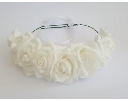 זר לראש | משי | זר פרחים | עיטור ראש | כתר | חגיגה | יום הולדת | קישוט | ורדים | לבן | זר לבוק | פרום | מלאכותי