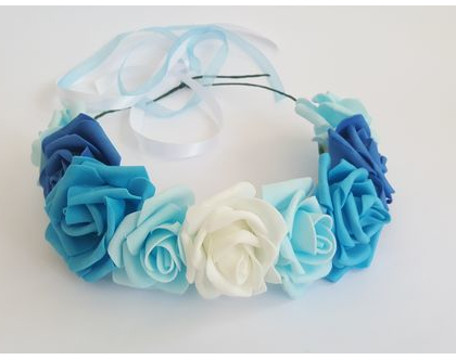 זר לראש | משי | זר פרחים | עיטור ראש | כתר | חגיגה | יום הולדת | קישוט | ורדים | שמנת | תכלת | כחול | טורקיז | זר לבוק | פרום | מלאכותי