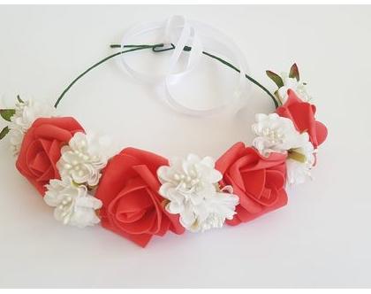 זר לראש | משי | פרחים | עיטור ראש | כתר | חגיגה יום הולדת | יומולדת | גוון אדום כתמתם | מלאכותי | זר ראש | שושבינה | מסיבת רווקות | בוק |