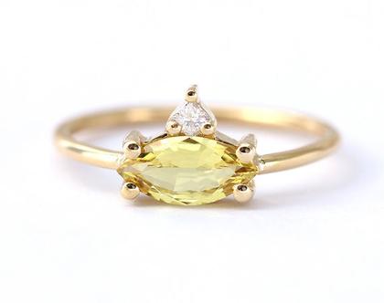 טבעת אירוסין משובצת אבן ספיר, טבעת ספיר 1 קראט, טבעת אירוסין מרקיזה, טבעת אשכול אבני חן, טבעת אירוסין ספיר צהוב, טבעת אירוסין ספיר זהוב