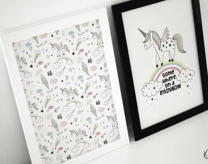 סט 4 חלקים חד קרן | פוסטר השראה | גלויות | פוסטר לחדרי ילדים | עיצוב מתוחכם | פוסטר צבעוני | עיצוב הבית | מתנה ליולדת | חדרי ילדים | חד קרן