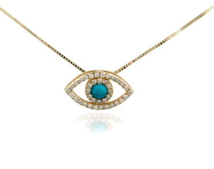 שרשרת ותליון עין הרע עשוי זהב 14 קראט משובץ יהלומים ואבן חן טורקיז