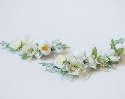 סיכת פרחים לכלה | סיכה מפרחי משי | סיכה בגווני שמנת | סיכה מפרחים לשיער | סיכות מעוצבות | סיכה עבודת יד | סיכה לחתונה | סיכה מפרחי משי