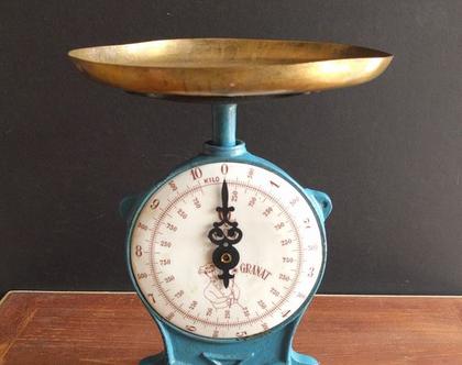 משקל מטבח וינטג'/משקל כחול וינטג'