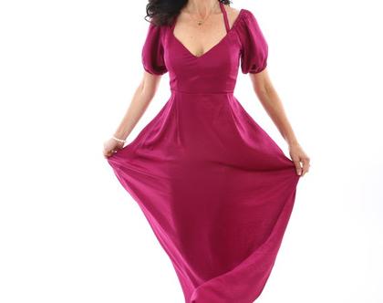 שמלה מקסי, שמלה עם כיסים, שמלה עם מחשוף ריטה, שמלה מטשטשת, שמלה מיוחדת, בצבע פטל מיוחד