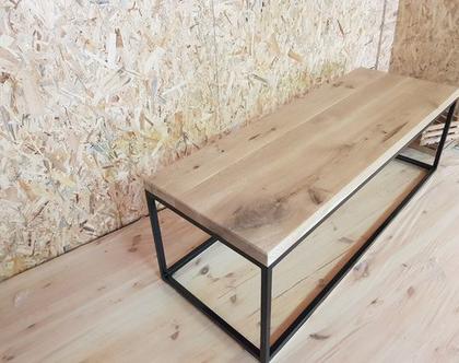 שולחן סלון מאלון מבוקע בשילוב ברזל