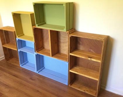 ארגזי עץ, קופסאות עץ, ארגזים ממשטחים, מדפי ספרים, ארגזי אחסון